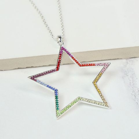 MULTI COLOURED CRYSTAL OPEN STAR NECKLACE